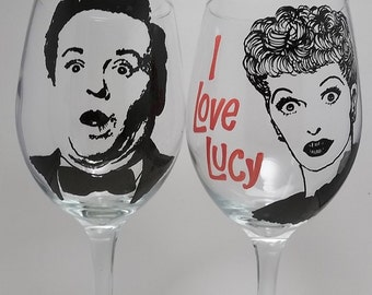 Lucy and Desi, I Love Lucy, Hand painted glasses, Painted wine glasses