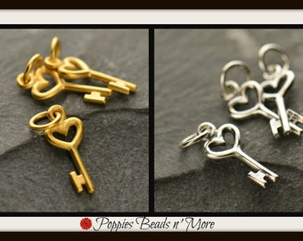Tiny Sterling Silver Heart Key Charm