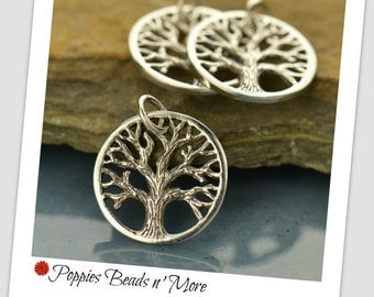 Textured Tree Charm - Tree Charm - Sterling Silver Tree Charm - Tree Jewelry Supply - Sterling Silver Jewelry Charm - Tree Charm Jewelry