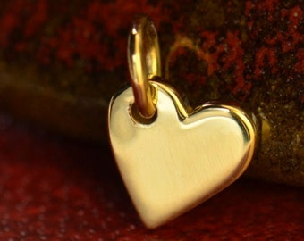 Solid 14K Gold Tiny Heart Charm