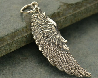 Large Sterling Silver Angel Wing Charm - Left Wing