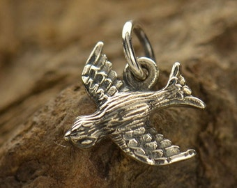Sterling Silver, Bird Charm, Flying Bird, Flying Bird Charm, Silver Bird Charm, Silver Bird, Bird Jewelry, Silver Bird Jewelry