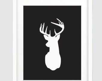 Black and White Deer Head Print, Black Deer Head Wall Art, Black and White Print, Black Wall Prints, Black and White Deer Head Wall Art