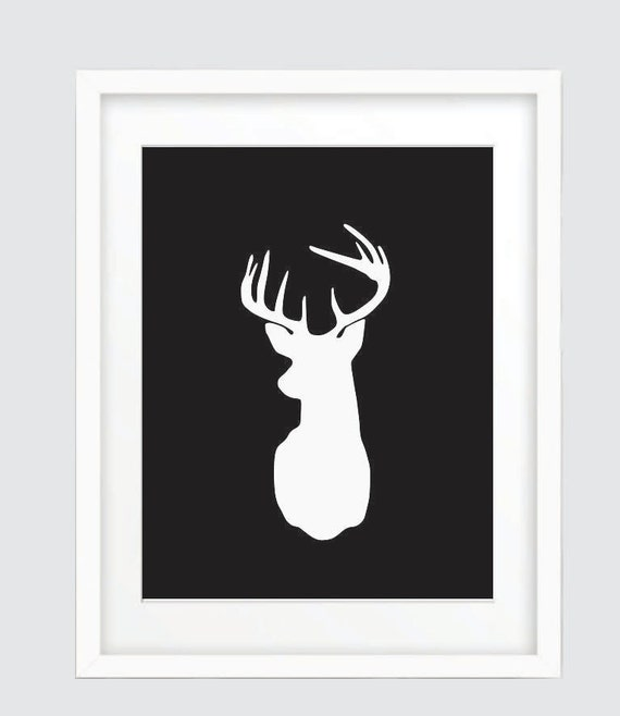 Animal Head Wall Decor White : Black and white deer head print wall art