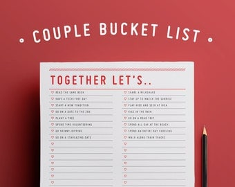 Together Let's.. : Couple Bucket List / Editable Planner / Checklist / Instant Download /
