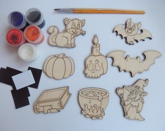 8 Pieces Halloween Set for Coloring, Wooden Decorations, Easy Craft Supplies, Handmade Crafts, Halloween Kids Crafts, Halloween Cutouts, 035