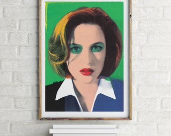Scully X Files Warhol style pop-art portrait poster