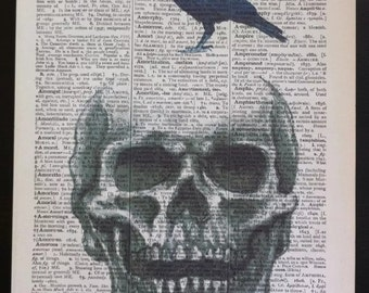 Skull steampunk vintage print Original Dictionary Book Page Wall Art Picture crow blackbird gothic skeleton