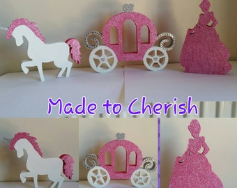 Wooden Glitter Free Standing Fairy Tale Set. Includes Princess,  Carriage,  Unicorn.