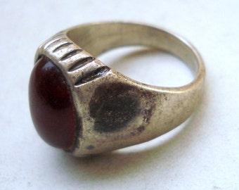 vintage antique ethnic tribal old silver ring old gemstone rajasthan india