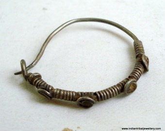 vintage antique ethnic tribal old silver nose ring nose ornament rajasthan