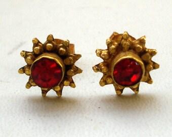 18k vintage antique ethnic tribal old gold earrings ear stud rajasthan india
