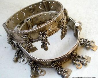 tribal bellydance jewelry old silver charm bracelet bangle vintage antique