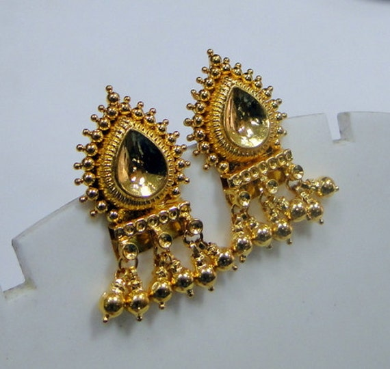 22k gold earrings india traditional design 22k gold earrings rajasthan india handmade 4464