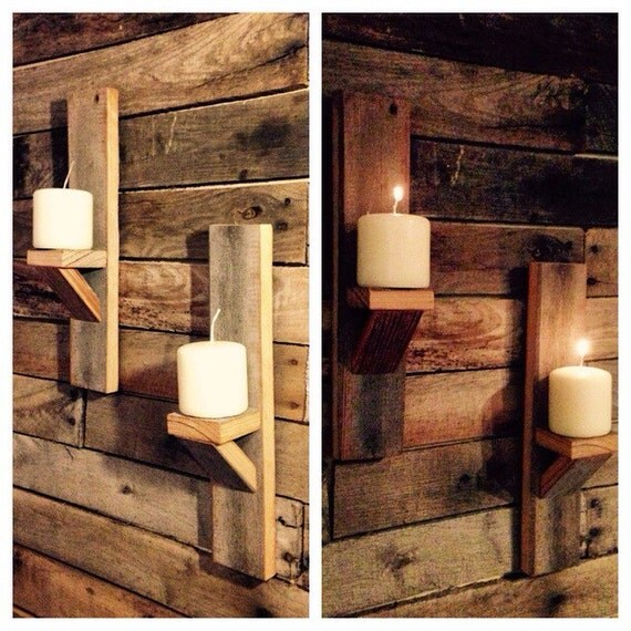 Two Vintage Barn Wood Candle Holders. Wall Decor. Rustic Home