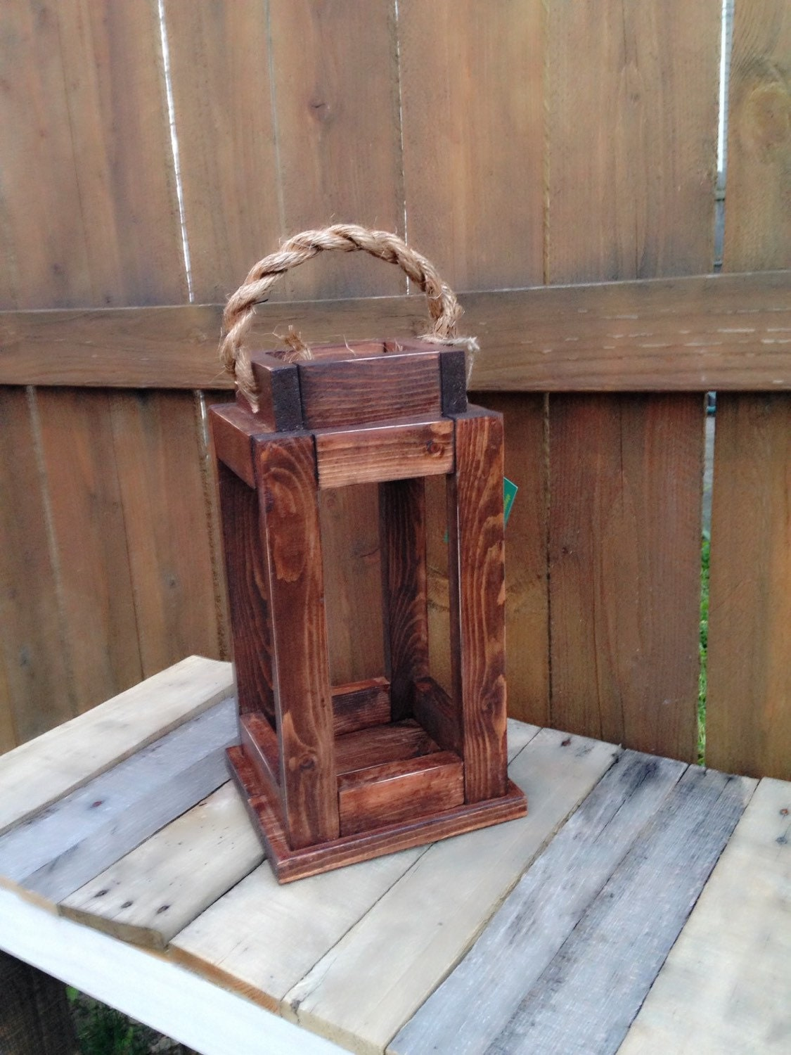 Rustic reclaimed wood lantern candle holder home decor for Candle holders out of wood