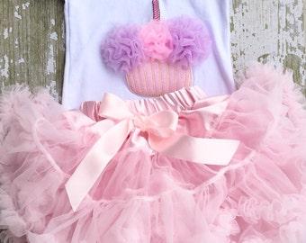 Pink birthday chiffon pettiskirt set, kids, petti skirt, cupcake, Birthday, outfit, girls skirt, toddler, baby, first, second, 1st, 2nd, 3rd
