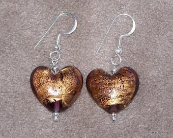 Handmade sterling silver earrings with Murano Glass heart