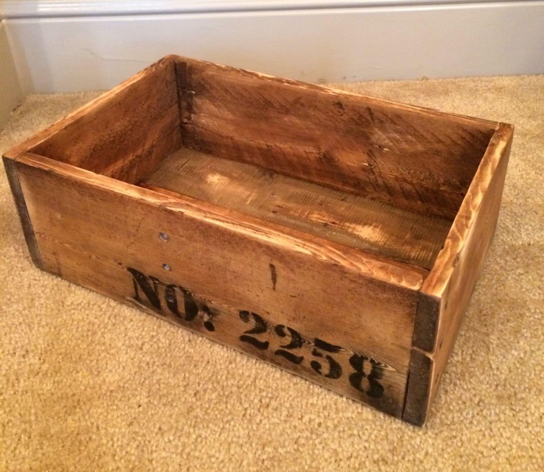 Wood crate storage box pallet storage crate rustic wood for Pallet wood storage box
