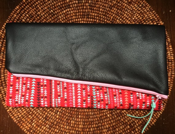 Red, Pink, Black, and Mint Asymmetrical Geometric Clutch with Black Leather Accent and White Square Lining, Evening Clutch