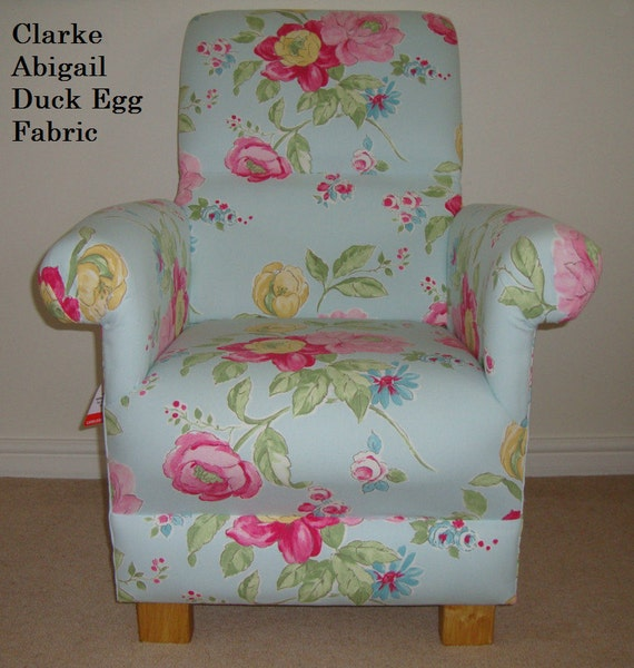 Clarke & Clarke Abigail Fabric Adult Chair Roses Flowers Duck