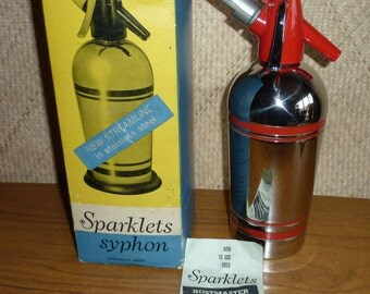 1950's Red and Chrome Boxed Soda Syphon
