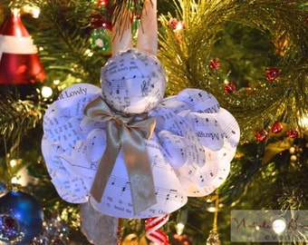 Christmas Sheet Music Paper Angel Ornament with Gold Ribbon, Angels made from Christmas Hymns, Paper Angel Ornaments