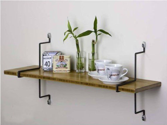 Bamboo Vertical Wall Mount Shelf Home Office Dorm By