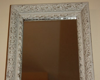 Cottage Style White Mirror in Upcycled Frame