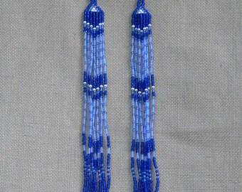 Blue Earrings. Extra Long Earrings. Shoulder Duster Earrings. Very Long Fringe Earrings. Beadwork.