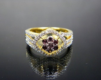 Floral Amethyst, CZ Ring, Simulated Diamonds, size 6, Gold Plated, Free Shipping
