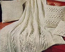 Vintage Knitting Pattern to make an Aran Afghan,Blanket Throw with 4 Richly Textured Cushions Pillows by PDF for Immediate Digital Delivery