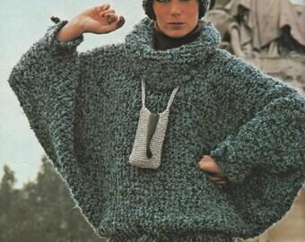 Easy Batwing Jumper Knitting Pattern : Sweater hat pattern Etsy