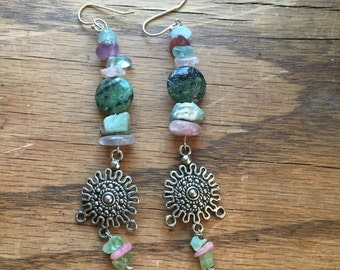 Amethyst, Green & Pink Tourmalines, Zoisite, and Flourite Earrings