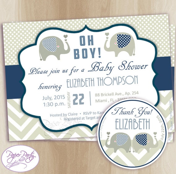 elephant baby shower invitation boy baby shower invitations blue baby