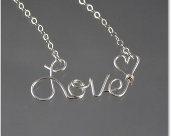 Love Wire Word Pendant Necklace