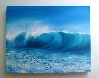 Seascape, Ocean, Original, Breaking wave, oil on canvas