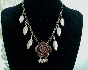 Brown rose, leaf & butterfly Necklace