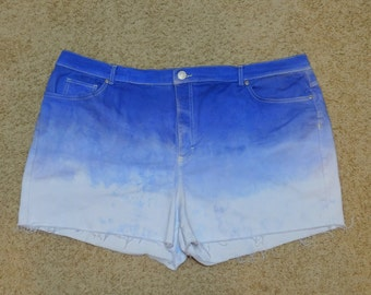 Plus Size Blue and White Ombre Cut Off Shorts