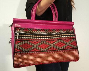 Pink Tote bag with shoulder strap, Leather purse, Unique handbag