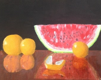FREE SHIPPING! Oranges and watermelon acrylic painting on a 12x12 inch stretched canvas by Bradley Pearson