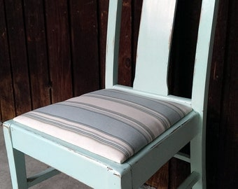Vintage Shabby Chic Accent Chair in Mint Green, Cottage decor