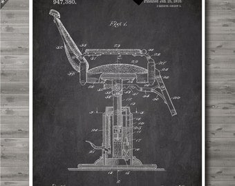 Barber's Chair poster, Barber's Chair patent, Barber's Chair print, Barber's Chair Art, Barber's Chair Wall Decor no109