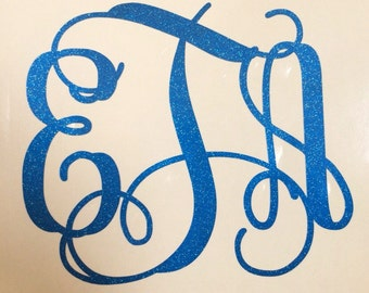 Glitter Vine Monogram Decal