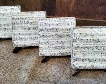 Music Coasters, Sheet Music Coasters, Musical Note Coasters, Music Lover Gift, Music Teacher Gift, Set of 4 Stone Coasters
