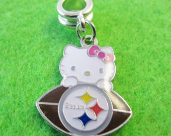 "PITTSBURGH STEELERS ""Hello Kitty"" European Charm For Bracelets"