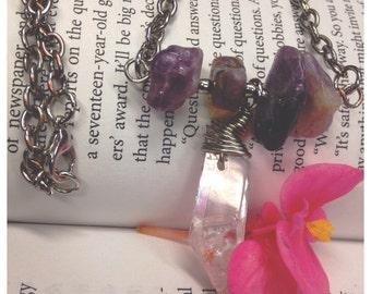 Amethyst and Quartz crystal necklace