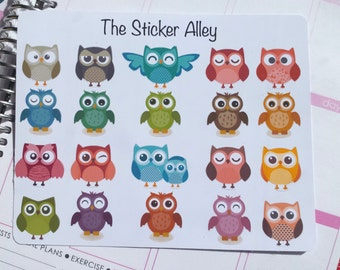 20 Cute Owl Stickers (Perfect for Erin Condren Life Planners, Planning and Scrapbooking)