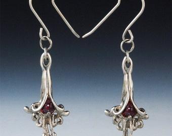 e 46 - Artisan Earring - Garnet Earring - Dangle Earrings