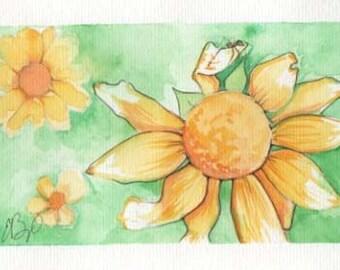 Yellow Flower | 4x6 Original Watercolor